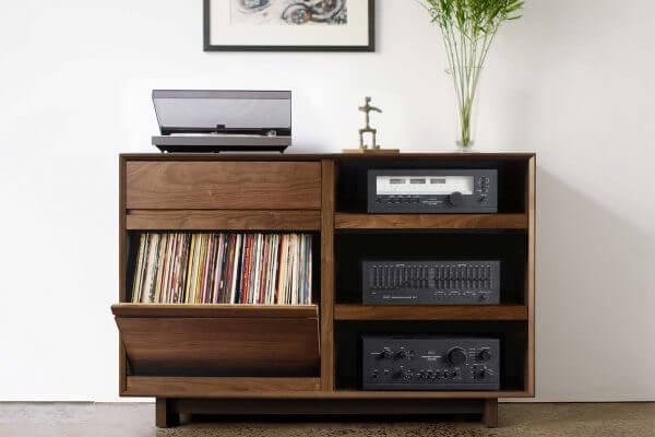 AERO LP Media Console Walnut Open