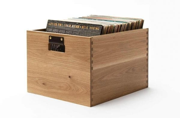 Dovetail Vinyl Record Storage flip bin constructed with premium North American hardwoods and a light rustic oak wood finish.