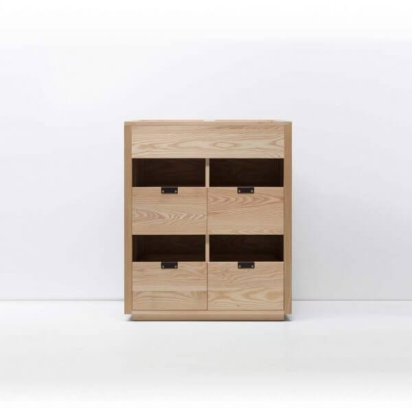 Dovetail Vinyl Storage Cabinet 2x2.5 with room for 360 records in premium North American hardwood construction. Includes light ash wood finish, soft-close under-mount drawers slides, and tanned leather handles.