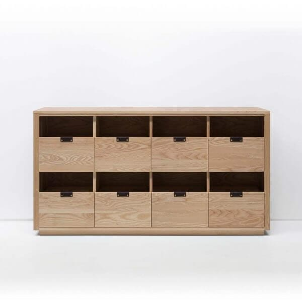 Dovetail Vinyl Storage Cabinet 4x2 with room for 540 records in premium North American hardwood construction. Includes light ash wood finish, soft-close under-mount drawers slides, and tanned leather handles.