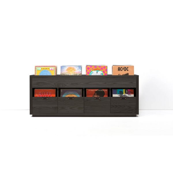 The Dovetail Vinyl Storage Cabinet 4 x 1.5 Stout is a vinyl storage cabinet made with solid North American hardwoods. It features flip style bins, leather handles, and soft-close undermount drawer that slide out to hold up to 90 LPs.