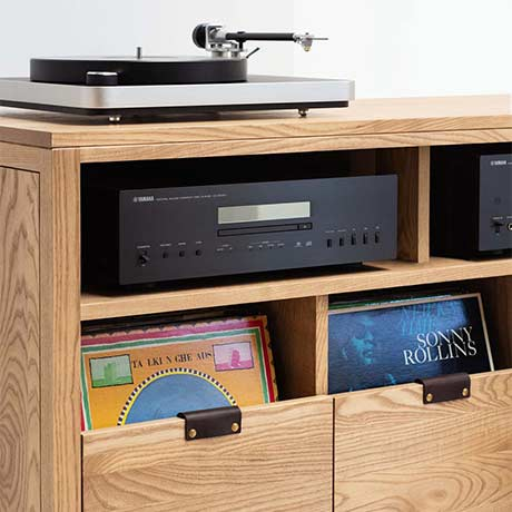 Dovetail Vinyl Storage Cabinet with Audio Shelf