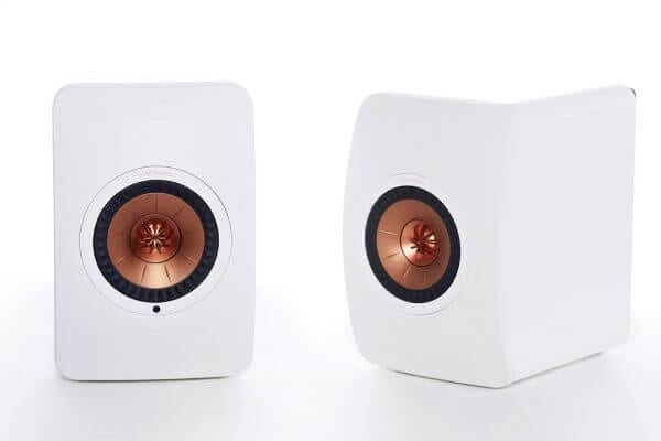 KEF LS50 Wireless white front pair power speakers.