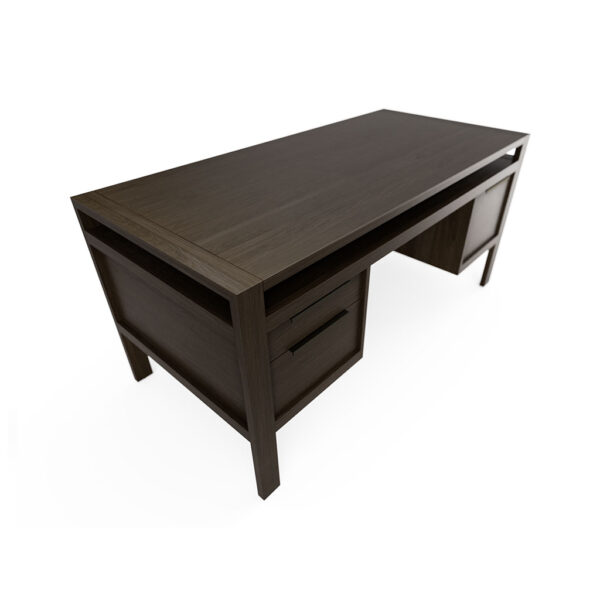 Modern Home Office Desk Solid Oak Pewter