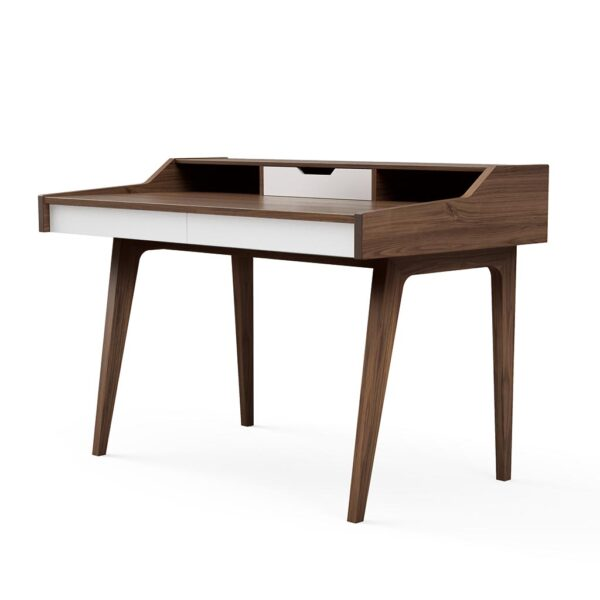 Solid Wood Home Office Desk Walnut White