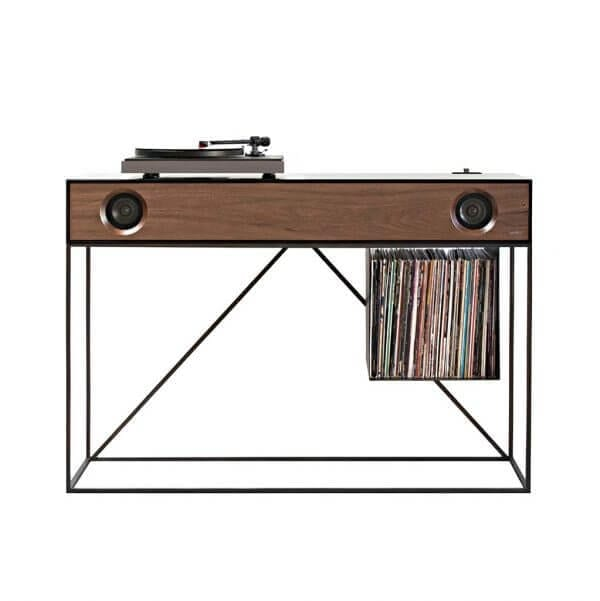 Stereo Console Table Silo with hi-fi turntable and hang bin style record storage for 90 LPs. Includes integrated Bluetooth powered speakers within the dark wood themed audio console.