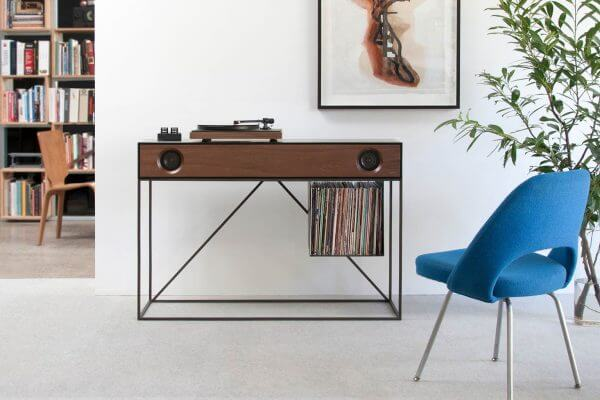 Stereo Console Table Walnut Turntable Tubes
