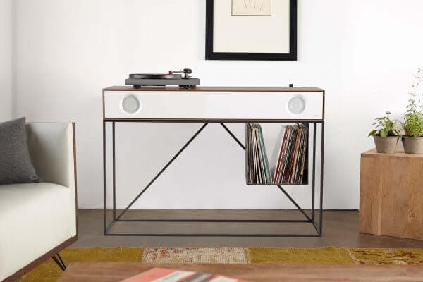 Stereo Console Table Walnut Turntable
