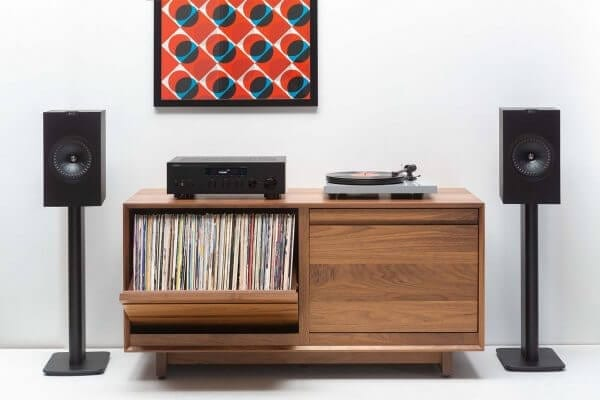 """The AERO 51"""" LP Storage Cabinet with two LP swivel storage bins able to hold 240 records. Includes Pro-Ject DC Turntable with Yamaha R-N803 Network Receiver sitting on top and dual wireless KEF LS51 speakers on either side."""