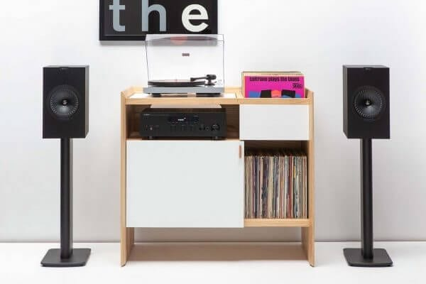 Essential Audio Turntable and Speaker package on Unison Record Stand with vinyl record storage.