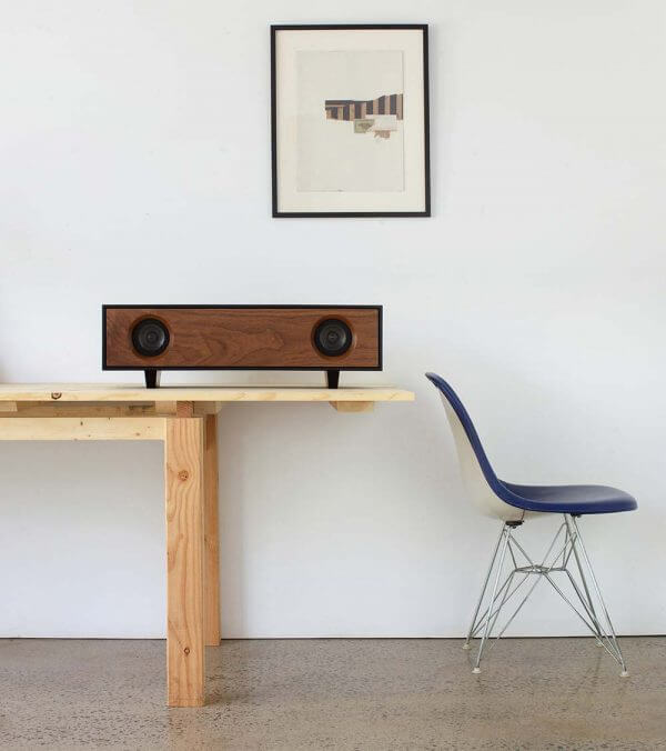 Tabletop Hifi Speaker on Pine Table with Eamses Chair
