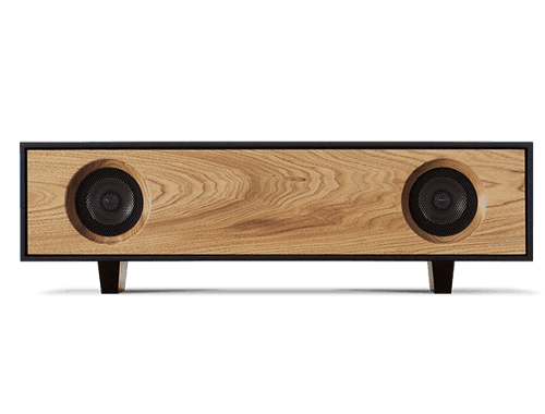 Tabletop Hifi speaker with a light natural oak finish. Crafted with North American hardwoods. It sits at 28.75 inches wide and 9.5 inches tall and weighs 30 lbs.