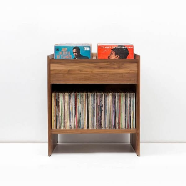 Unison Walnut Vinyl Storage Cabinet with room for 330 LPs for convenient and secure storage. Made from North American hardwoods and features rich walnut finish.