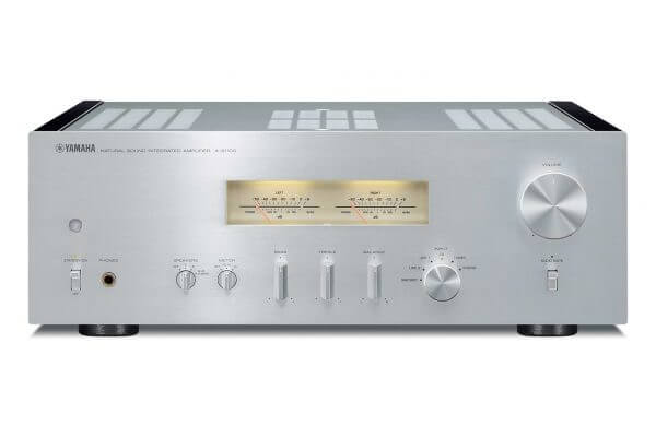 Yamaha A-S1100 Integrated Amplifier sleek silver themed front view.