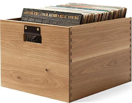 Dovetail Record Crate Oak Vinyl storage bin created from fine North American hardwoods with a light oak finish. Holds 100 LPs in flip-style storage.