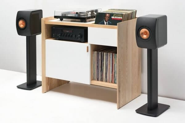 Unison Ash Record Stand with KEF and Yamaha